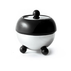 ART DECO 1930  - Stoneware sugar bowl black enamel