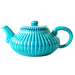 IMPERIAL FLOWER - Stoneware teapot turquoise enamel - 4 cups