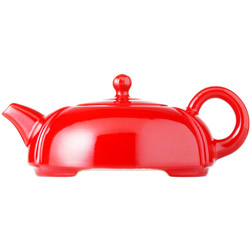 IMPERIAL MOON - Stoneware teapot red enamel - 3 cups