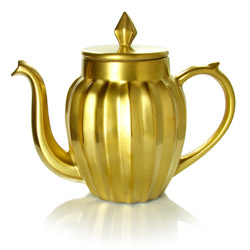 LUCKY STAR - Stoneware teapot golden enamel - 4 cups