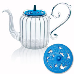 BAROQUE - Sakura - Hand blown glass teapot cast-iron blue lid - 4 cups