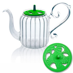 BAROQUE - Ginkgo - Hand blown glass teapot cast-iron green lid - 4 cups