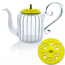 BAROQUE - Wave - Hand blown glass teapot cast-iron yellow lid - 4 cups