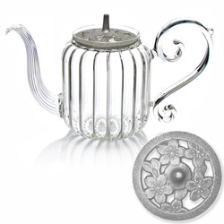 BAROQUE - Sakura - Hand blown glass teapot cast-iron silver lid - 4 cups