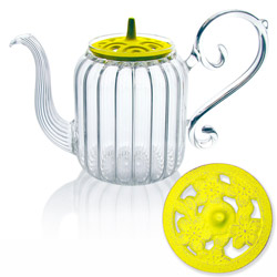BAROQUE - Sakura  - Hand blown glass teapot cast-iron yellow lid - 4 cups