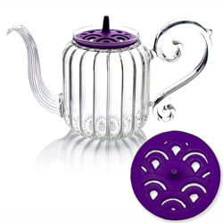 BAROQUE - Wave - Hand blown glass teapot cast-iron purple lid - 4 cups