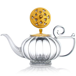 MY BEAUTIFUL TEAPOT - Hand blown glass teapot cast-iron golden lid - 5 cups