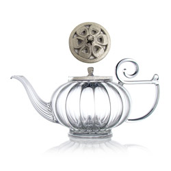 MY BEAUTIFUL TEAPOT - Hand blown glass teapot cast-iron silver lid - 5 cups