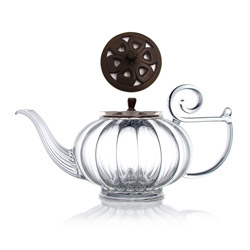 MY BEAUTIFUL TEAPOT - Hand blown glass teapot cast-iron brown lid - 5 cups
