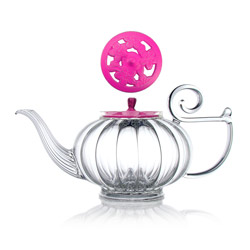MY BEAUTIFUL TEAPOT - Hand blown glass teapot cast-iron pink lid - 5 cups