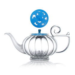 MY BEAUTIFUL TEAPOT - Hand blown glass teapot cast-iron blue lid - 5 cups