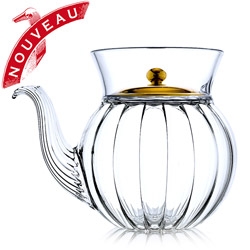 FRENCH TEA CLUB - Hand blown glass teapot porcelain golden lid - 3 cups