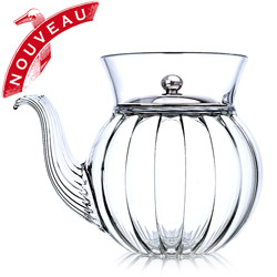 FRENCH TEA CLUB - Hand blown glass teapot porcelain platinum lid - 3 cups