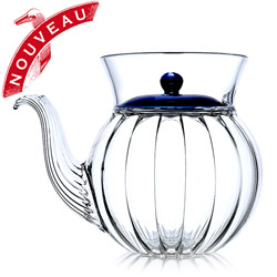 FRENCH TEA CLUB - Hand blown glass teapot porcelain blue lid - 3 cups