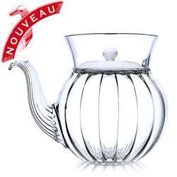 FRENCH TEA CLUB - Hand blown glass teapot porcelain black lid - 3 cups