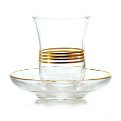 AU SAHARA - Glass tea cup & saucer golden trims