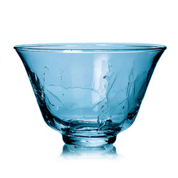 RAINBOW TEA - Glass tea cup  blue craqueled