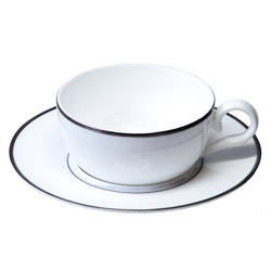 APOLLO - Porcelain tea cup & saucer silver trim