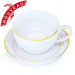STREAM LINE - Porcelain tea cup & saucer gold trim
