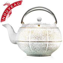PLEINE LUNE® - Cast-iron teapot white & gold - 3 cups