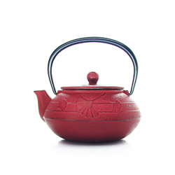 GINGKO  - Cast-iron teapot red - 3 cups