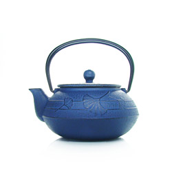 GINGKO  - Cast-iron teapot blue - 3 cups