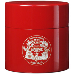 TEA PARTY - Empty tea canister red & lacquered
