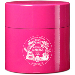 TEA PARTY - Empty tea canister fuchsia pink & lacquered