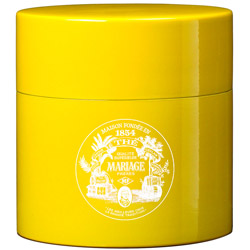 TEA PARTY - Empty tea canister yellow & lacquered