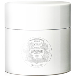 TEA PARTY - Empty tea canister white & lacquered with silver logo