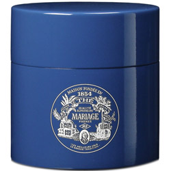 TEA PARTY - Empty tea canister blue & lacquered
