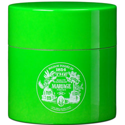 TEA PARTY - Empty tea canister green & lacquered