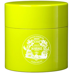 TEA PARTY - Empty tea canister yellow-green & lacquered
