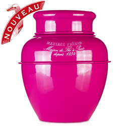 TEA JAR - Empty tea canister fuchsia pink & lacquered