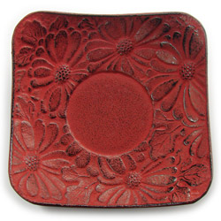 CHRYSANTHEMUM saucer - Cast-iron red