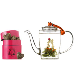 SWEETHEART® - Tea set with green crafted tea & hand blown glass teapot