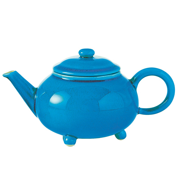 Imperial Palace : stoneware teapot red, turquoise, purple, green, gold and silver