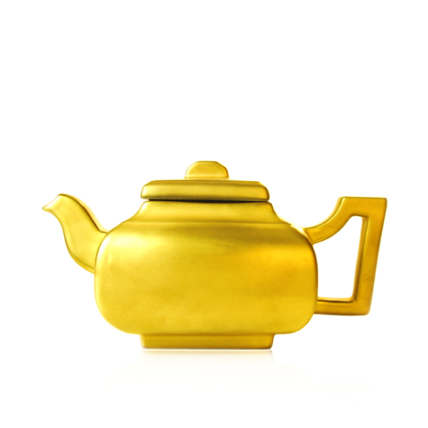 Legends : stoneware teapot gold, silver or turquoise blue enamel