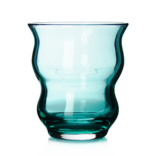Casablanca : glass tea cup craqueled, turquoise and orange