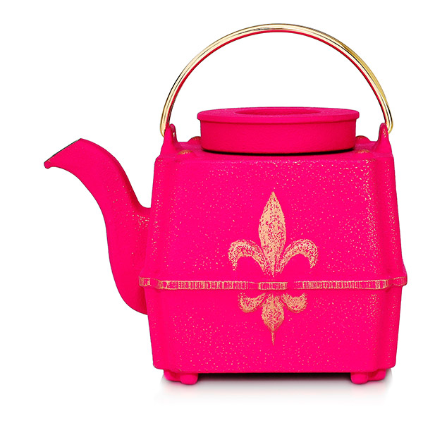 Fils de France teapot : japan cast iron teapot fuschia pink, gold and blue