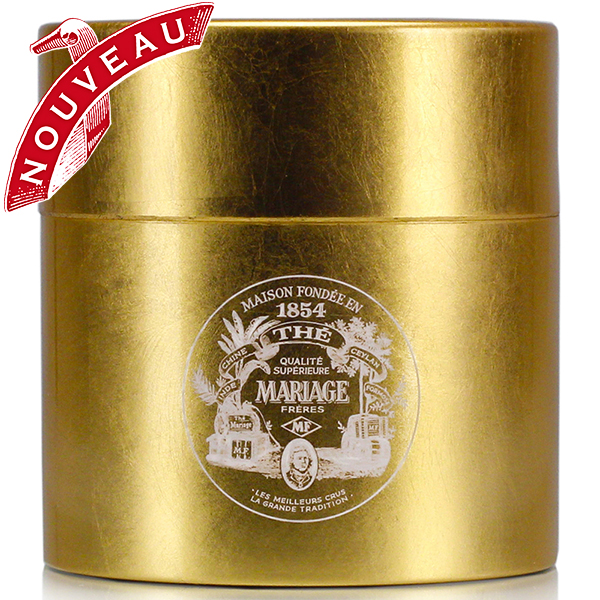 TEA PARTY - Empty tea canister - golden & lacquered