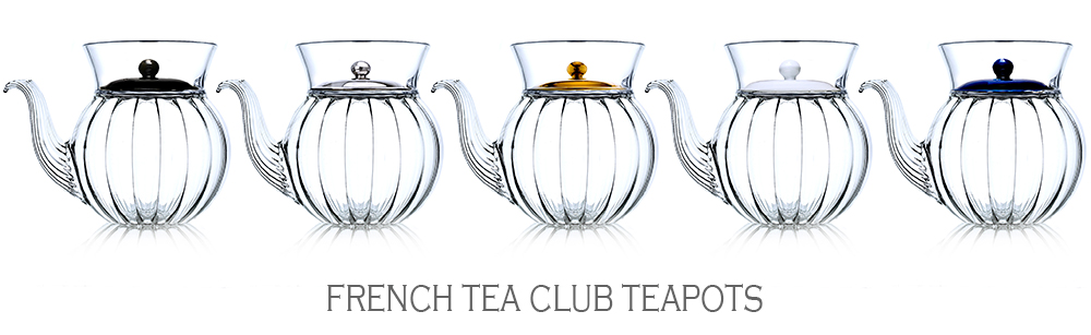 French Tea Club : hand blown glass teapot made in France, with porcelain lid coloured in gold, platinum, blue, black and white