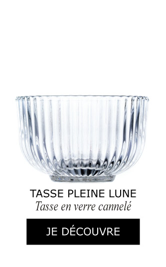 Tasse Pleine Lune en verre cannelé