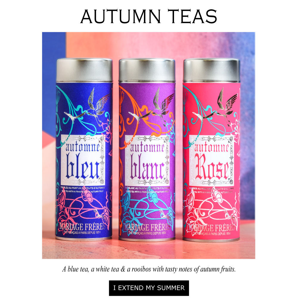 A blue tea, a white tea & a rooibos with tasty notes of autumn fruits