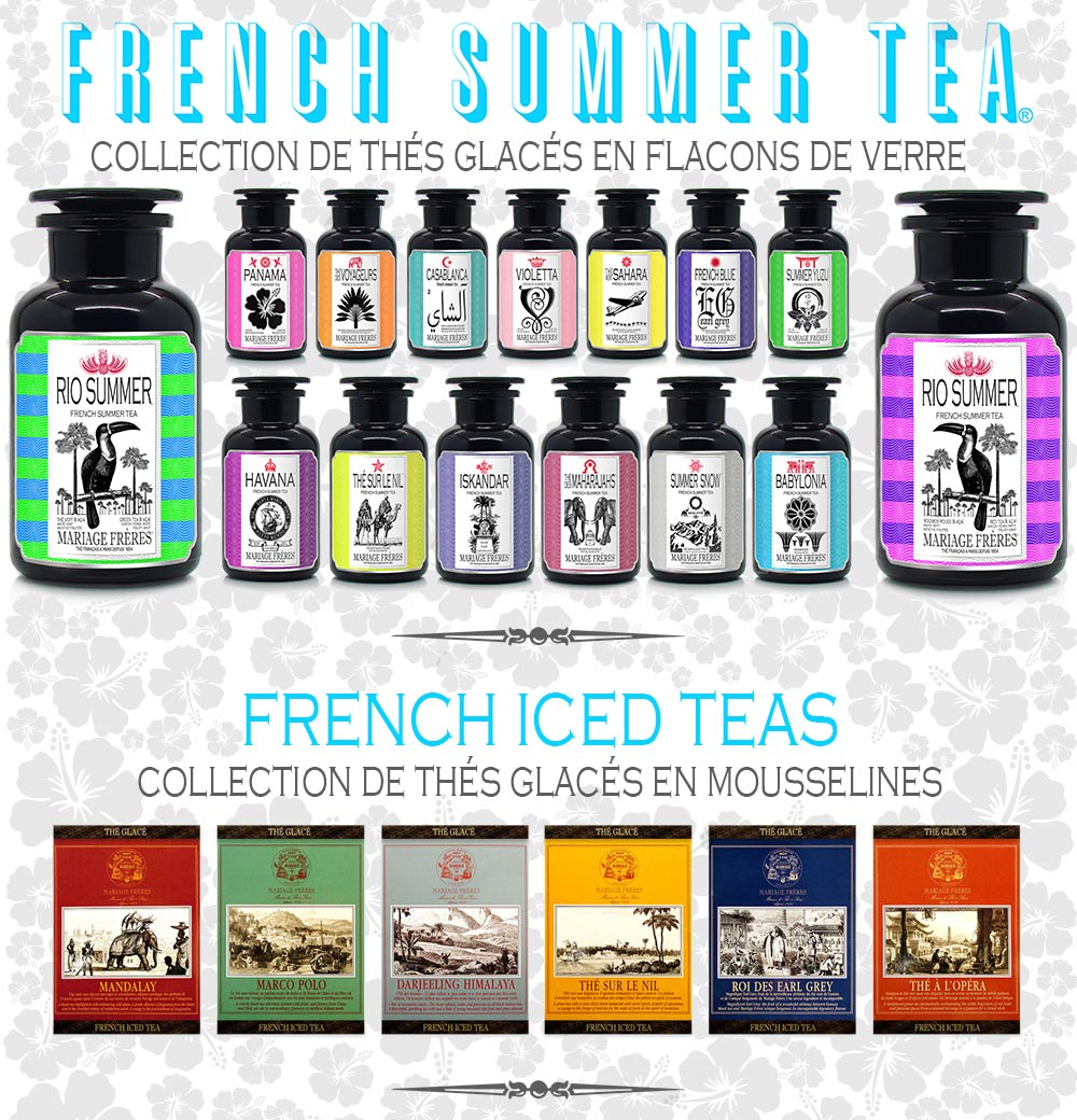 FRENCH SUMMER TEA : Collection de thés glacés en flacons de verrre & FRENCH ICED TEAS : Collection de thés glacés en mousselines