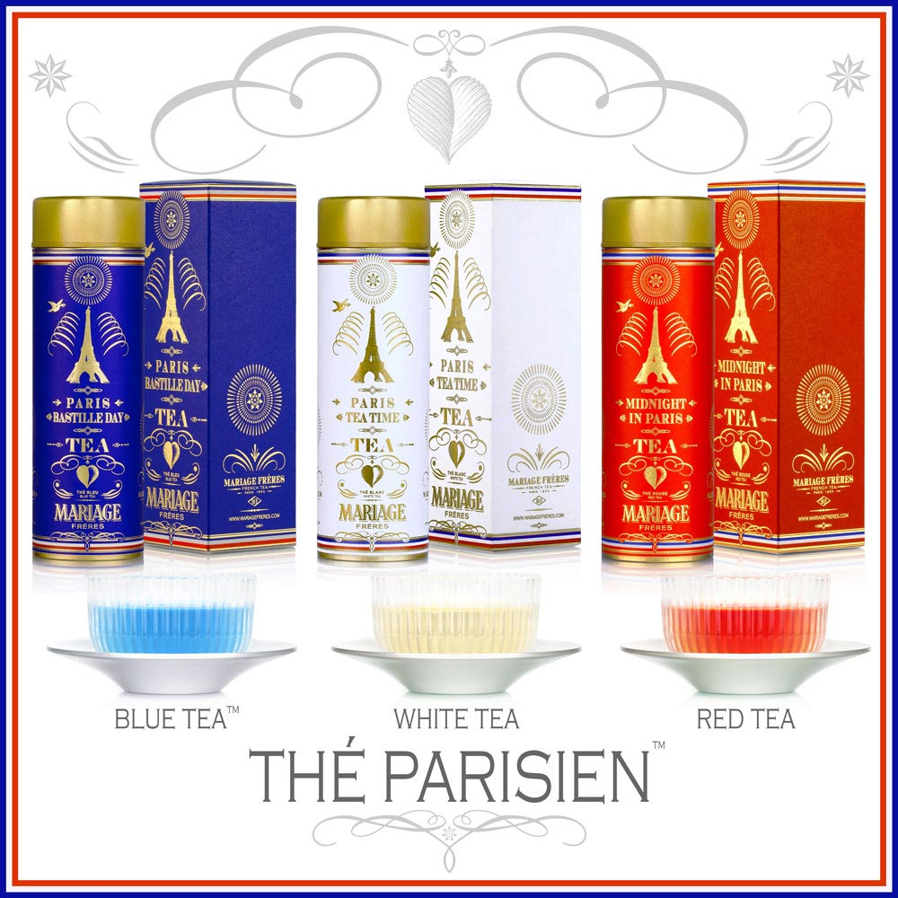 Thé Parisien - Parisian teas : a seductive collection of dazzlingly festive teas in the image of Paris. A blue tea oolong for the Bastille Day tea, a white tea for Paris Tea Time and a rooibos for Midnight In Paris