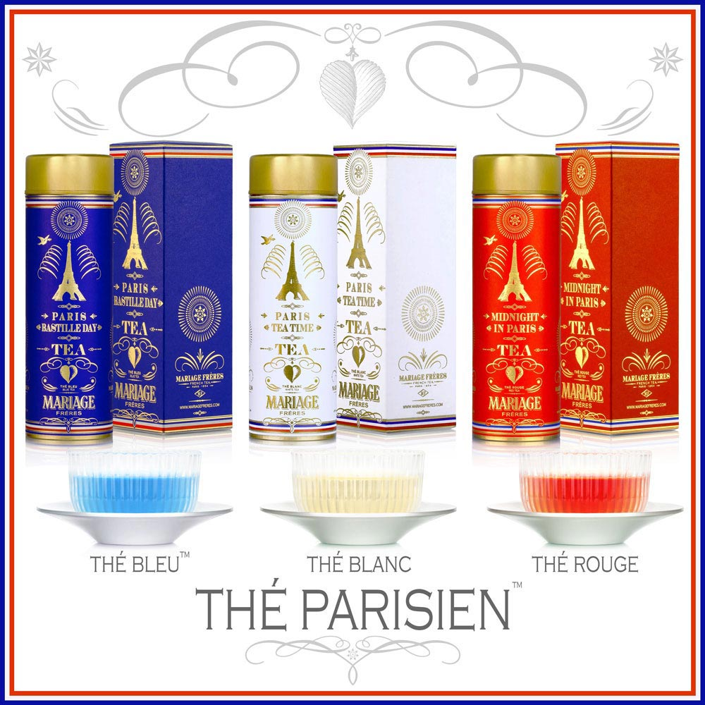 Thé Parisien : a tea collection declined on a white tea, a red tea rooibos and a blue tea oolong