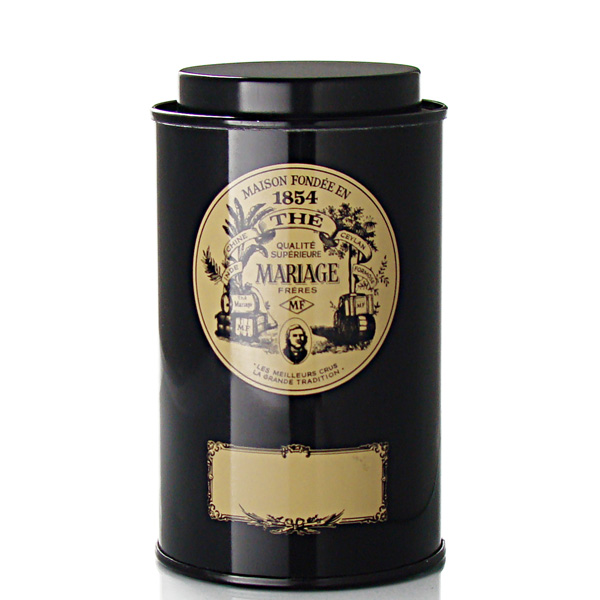 Classical empty metallic tea canister