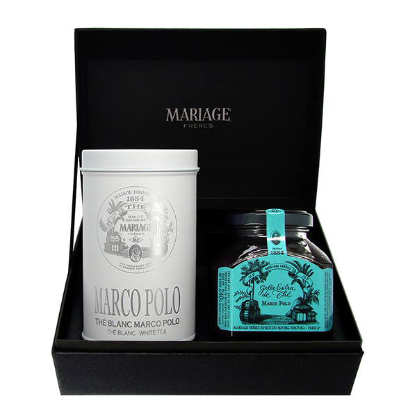 Connoisseur tea gift set : a earl gret black tea, a christmas tea or a Marco Polo white tea with a jelly
