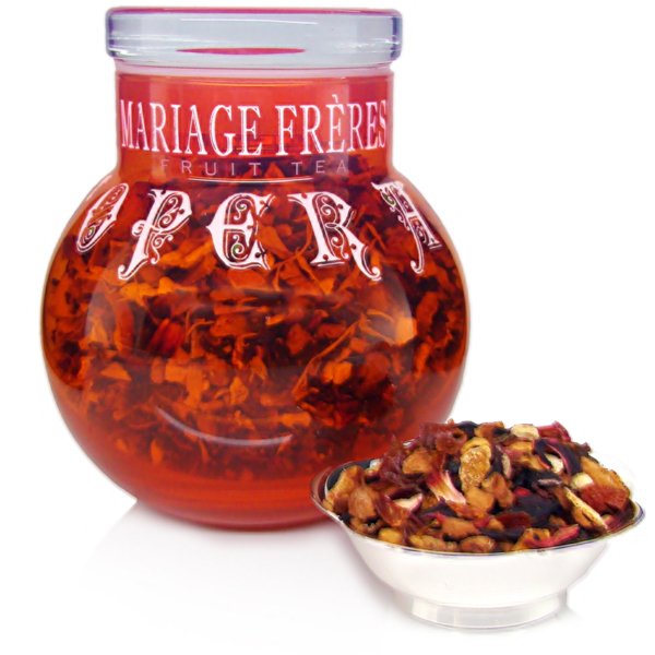 Theine-free Fruits tea infusion made off flowers, fruits, apple, vanilla, caramel, citrus, marron